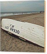 Lifeguard Boat Ocean City, Nj Wood Print