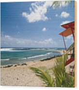 Lifeguard Station On The Beach Poipu Beach Kauai Hawaii Wood Print