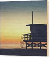 Lifeguard Tower At Sunset Wood Print
