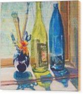 Light And Bottles Wood Print