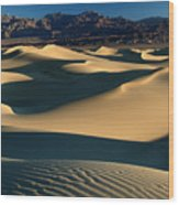 Light And Shadows In The Mesquite Sand Dunes Of Death Valley Wood Print
