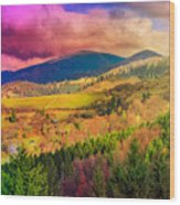 Light  Beam Falls On Hillside With Autumn Forest In Mountain Wood Print