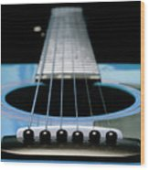 Light Blue Guitar 13 Wood Print
