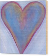 Light Blue Heart Wood Print