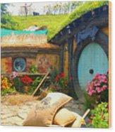 Light Blue Hobbit Door Wood Print