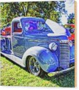 Light Blue Pickup  Wood Print