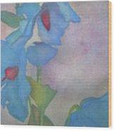 Light Blue Poppies Wood Print