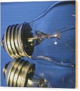 Light Bulb - Blue Wood Print