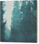 Light Coming Through Fir Trees In Mist Wood Print