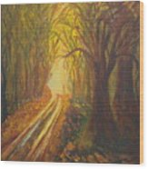Light Down The Road Wood Print