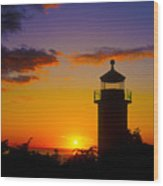 Light House At Fort Casey Washington Wood Print
