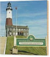 Light House At Montauk Point Wood Print
