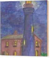 Light House At Night Wood Print