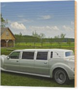Light Limousine In The Meadow Wood Print