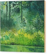Light N Greens Wood Print