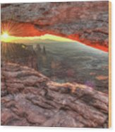 Light Of Day - Mesa Arch Sunrise Canyonlands Np Wood Print