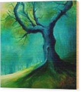Light On A Dead Tree Wood Print