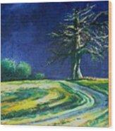 Light On A Tree Wood Print