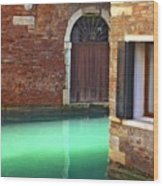 Light On Canal In Venice Wood Print