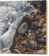 Light On Rocks And Ice  Wood Print