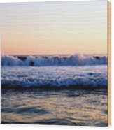 Light On The Wave Tops 4 Wood Print