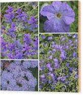 Light Purple Flowers Collage Wood Print
