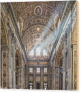 Light Rays In St Peter's, Rome Wood Print