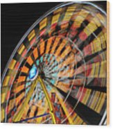 Light Streaks From The Spinning Ferris Wheel And Swing At Night  Wood Print