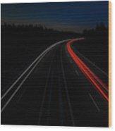 Light Trail Wood Print