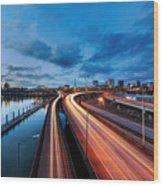 Light Trails Along Willamette River Wood Print
