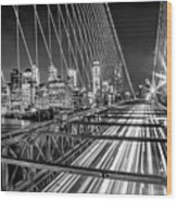 Light Trails Of Manhattan Wood Print