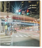 Light Trails On 17th And Market Wood Print