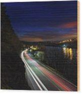 Light Trails On Highway 99 Wood Print