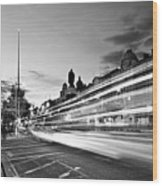 Light Trails On O'connell Street At Night - Dublin Wood Print