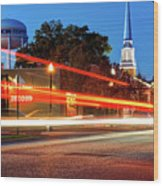 Light Trails In Front Of Bentonville Record And Water Tower Wood Print