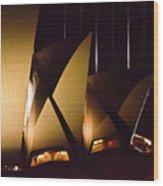 Light Up Sail Of Opera House  Wood Print
