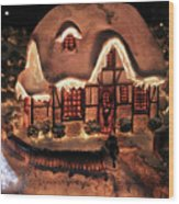 Lighted Christmas House  Wood Print