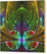Lighted Flower Fractal Wood Print