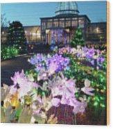 Lighted Flowers Wood Print