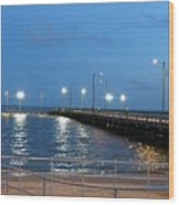 Lighted Pier Wood Print