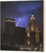 Lightening Over Providence Wood Print by Vicki Jauron