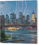 Lightening Striking Manhattan Wood Print