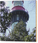 Lighthouse Among The Live Oaks Wood Print