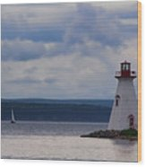 Lighthouse And A Sail Boat In Nova Scotia Wood Print