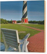 Lighthouse And Chair Wood Print