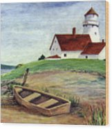 Lighthouse And Dinghy Wood Print
