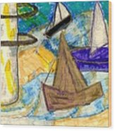 Lighthouse And Sailboats Wood Print