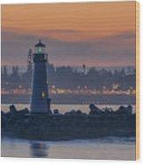 Lighthouse And Wharf At Dusk Wood Print