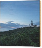 Lighthouse At Blue Hour Wood Print