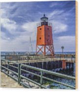 Lighthouse At Charlevoix South Pier  Wood Print